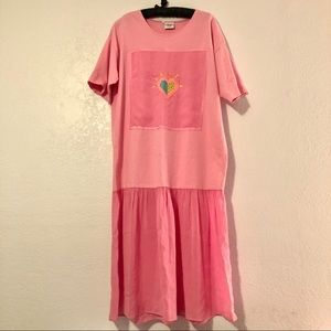 Vtg 1990s Johnny Was T-shirt Dress Pink Size Large